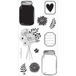 Hampton Art - Clear Acrylic Stamps - Mason Jar Florals