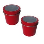 Hampton Art - Small Round Tin with Clear Lid - 2 Pack - Red