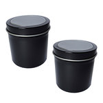 Hampton Art - Small Round Tin with Clear Lid - 2 Pack - Black