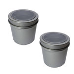 Hampton Art - Small Round Tin with Clear Lid - 2 Pack - Silver