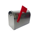 Hampton Art - Tin Mailbox - Medium - Silver