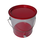 Hampton Art - Plastic Paint Can with Tin Lid - Large - Red