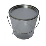 Hampton Art - Plastic Paint Can with Tin Lid - Large - Silver