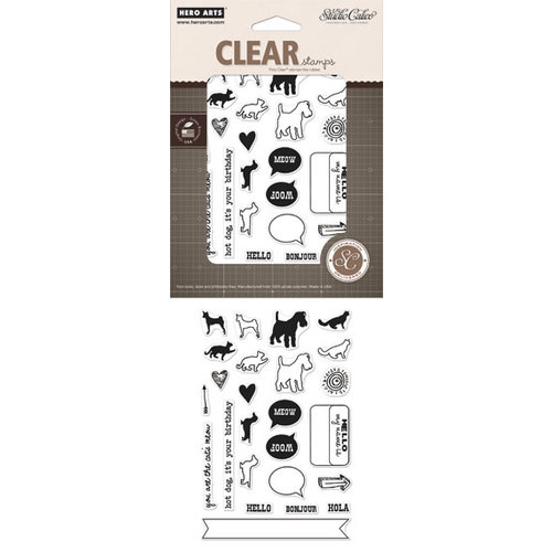 Hero Arts - Studio Calico - Here and There Collection - Poly Clear - Clear Acrylic Stamps - Cats and Dogs