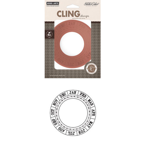 Hero Arts - Studio Calico - Here and There Collection - Clings - Repositionable Rubber Stamps - Round Calendar