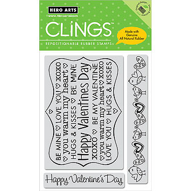 Hero Arts - Clings - Valentines - Repositionable Rubber Stamps - Happy Valentine's Day