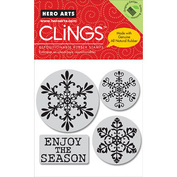 Hero Arts - Clings - Christmas - Repositionable Rubber Stamps - Enjoy the Season - Set of Four
