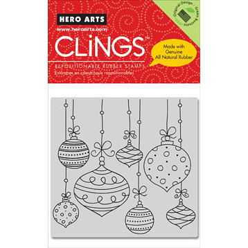 Hero Arts - Clings - Christmas - Repositionable Rubber Stamps - Hanging Christmas Ornaments