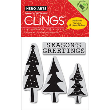 Hero Arts - Clings - Christmas - Repositionable Rubber Stamps - Season's Greetings - Set of Four