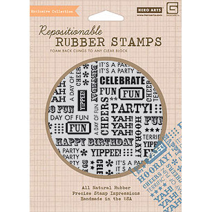 Hero Arts - BasicGrey - Life of the Party Collection - Clings - Repositionable Rubber Stamps - Words