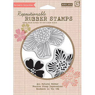 Hero Arts - BasicGrey - Hello Luscious Collection - Clings - Repositionable Rubber Stamps - Bold Flowers - Set of Four