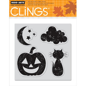 Hero Arts - Clings - Halloween - Repositionable Rubber Stamps - Halloween Moon - Set of Four