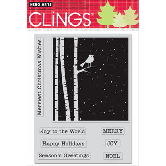 Hero Arts - Clings - Christmas - Repositionable Rubber Stamps - Merriest Christmas Wishes - Set of Eight