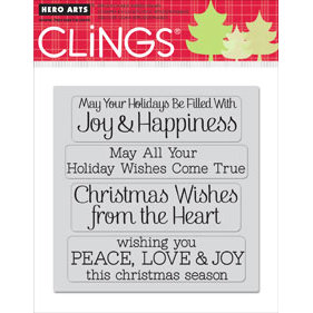 Hero Arts - Clings - Christmas - Repositionable Rubber Stamps - Wishes Come True - Set of Four