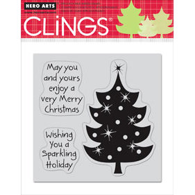 Hero Arts - Clings - Christmas - Repositionable Rubber Stamps - Sparkling Holiday - Set of Three