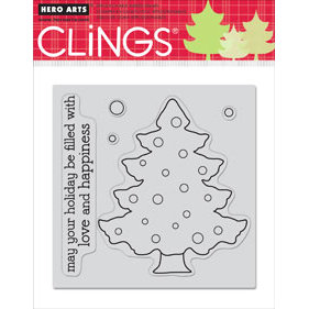 Hero Arts - Clings - Christmas - Repositionable Rubber Stamps - Color Your Own - Set of Five