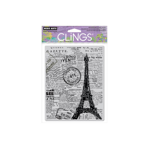 Hero Arts - Clings - Repositionable Rubber Stamps - Newspaper Eiffel Tower