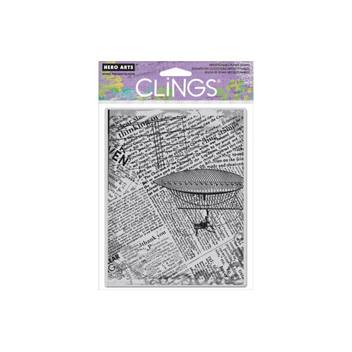 Hero Arts - Clings - Repositionable Rubber Stamps - Fly Away Newsprint
