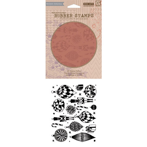Hero Arts - BasicGrey - Aspen Frost Collection - Repositionable Rubber Stamps - Festive Ornaments