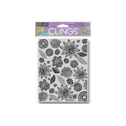Hero Arts - Clings - Repositionable Rubber Stamps - Leaves and Flowers