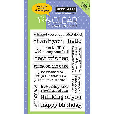 Hero Arts - Poly Clear - Clear Acrylic Stamps - Essential Messages