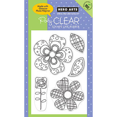 Hero Arts - Poly Clear - Clear Acrylic Stamps - Big Flowers Pattern
