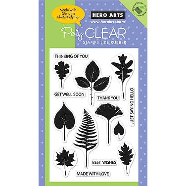 Hero Arts - Poly Clear - Clear Acrylic Stamps - Leaf Prints