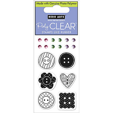 Hero Arts - Sparkle Clear - Clear Acrylic Stamps - Patterned Buttons