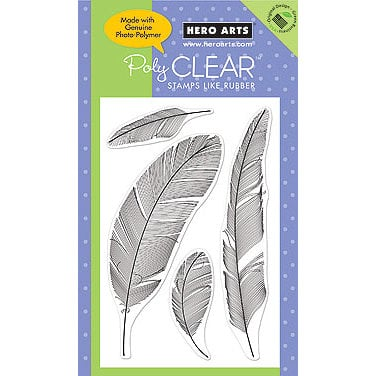 Hero Arts - Poly Clear - Clear Acrylic Stamps - Feathers