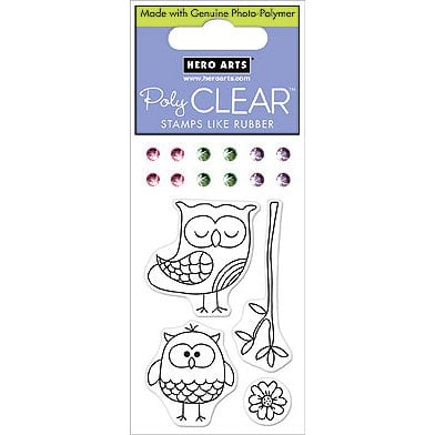 Hero Arts - Sparkle Clear - Clear Acrylic Stamps - Sweet Owls