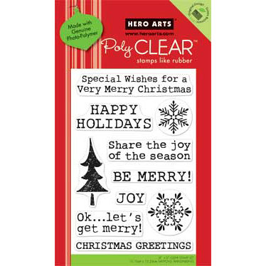 Hero Arts - Poly Clear - Christmas - Clear Acrylic Stamps - Get Merry