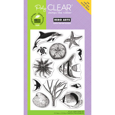 Hero Arts - Poly Clear - Clear Acrylic Stamps - Fish and Shells