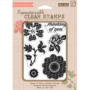 Hero Arts - BasicGrey - Hello Luscious Collection - Poly Clear - Clear Acrylic Stamps - Patterned Flowers