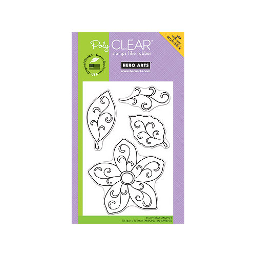 Hero Arts - Poly Clear - Clear Acrylic Stamps - Flourish Leaves and Flower