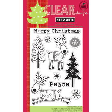 Hero Arts - Poly Clear - Christmas - Clear Acrylic Stamps - Christmas Reindeer