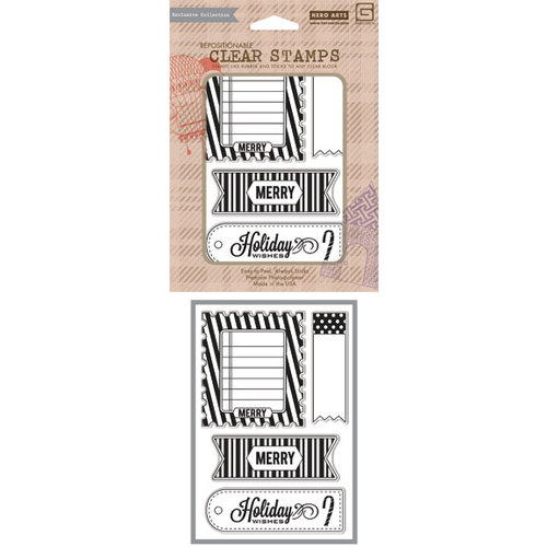 Hero Arts - BasicGrey - Aspen Frost Collection - Poly Clear - Clear Acrylic Stamps - Merry