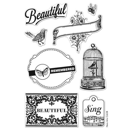 Hero Arts - BasicGrey - Serenade Collection - Poly Clear - Clear Acrylic Stamps - Beautiful