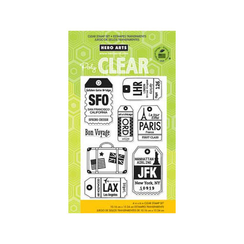 Hero Arts - Poly Clear - Clear Acrylic Stamps - Luggage Tags
