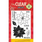 Hero Arts - Poly Clear - Christmas - Clear Acrylic Stamps - Peace Poinsettias