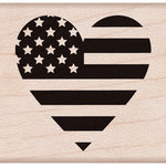 Hero Arts - Woodblock - Wood Mounted Stamps - Heart Flag