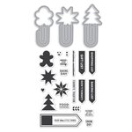 Hero Arts - Kelly Purkey Collection - Christmas - Die and Clear Acrylic Stamp Set - Holiday Clips