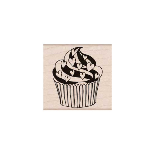 Hero Arts - Woodblock - Wood Mounted Stamps - Heart Cupcake