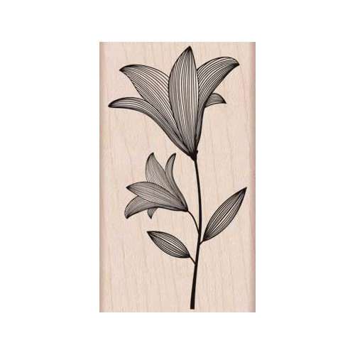 Hero Arts - Woodblock - Wood Mounted Stamps - Etched Flower with Stem