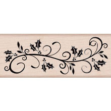 Hero Arts - Woodblock - Christmas - Wood Mounted Stamps - Holly Flourish Border