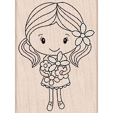 Hero Arts - Woodblock - Wood Mounted Stamps - Girl Holding Flowers