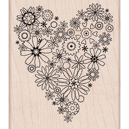 Hero Arts - Woodblock - Valentines - Wood Mounted Stamps - Blooming Heart