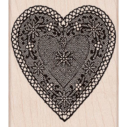 Hero Arts - Woodblock - Valentines - Wood Mounted Stamps - Heart Lace