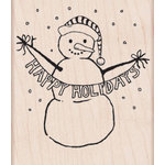 Hero Arts - Woodblock - Christmas - Wood Mounted Stamps - Happy Holidays Snowman