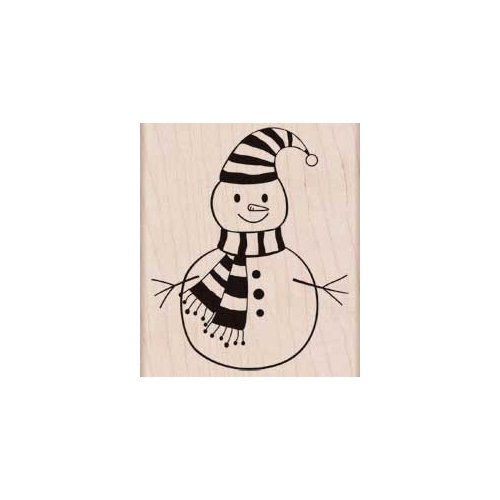Hero Arts - Woodblock - Christmas - Wood Mounted Stamps - Striped Scarf Snowman