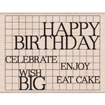 Hero Arts - Wood Block - Wood Mounted Stamp - Happy Birthday Grid